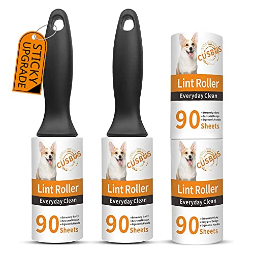 Cusbus Lint Rollers for Pet Hair Extra Sticky, [360 Sheets/4 Refills] Lint Roller with 2 Upgraded Handles, Portable Lint Remover Brush Pet Hair Remover for Dog & Cat Hair Removal, Clothes, Furniture