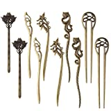 10pcs Women Hair Pin Retro Hair Chopsticks Vintage Hair Stick Antique Bronze Decorative for Hair Diy Accessory