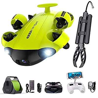 QYSEA FIFISH V6s Underwater Drone with 4K UHD Camera, 4000lm LED, VR Glasses, APP Remote Control, Dive to 330ft, Adjustable Tilt-Lock, ROVs for Real-Time Viewing, Marine Video, Fishing Camcorder