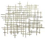 Bellaa 27079 Metal Wall Art Geometric Abstract Modern Cross 37 Inch Light Gold (Light Golden 27079)
