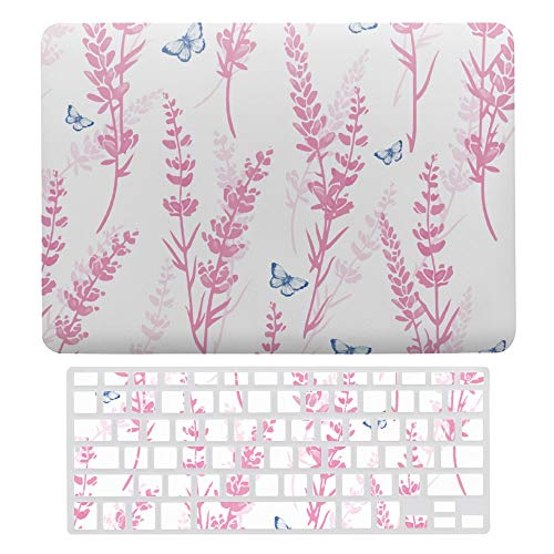 For MacBook Air 13 Inch Case A1466, A1369, Plastic Hard Shell & Keyboard Cover Compatible with MacBook Air, Watercolor Butterfly Pink Lavender Laptop Protective Shell Set