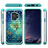 Galaxy S9 Case,Anti-Scratch Durable 2 Layer Case Inner Soft TPU Bumper Hard PC Back Cover with Creative Pattern & Point Drill Impact Resistant Case Compatible with Samsung Galaxy S9 -Butterfly B