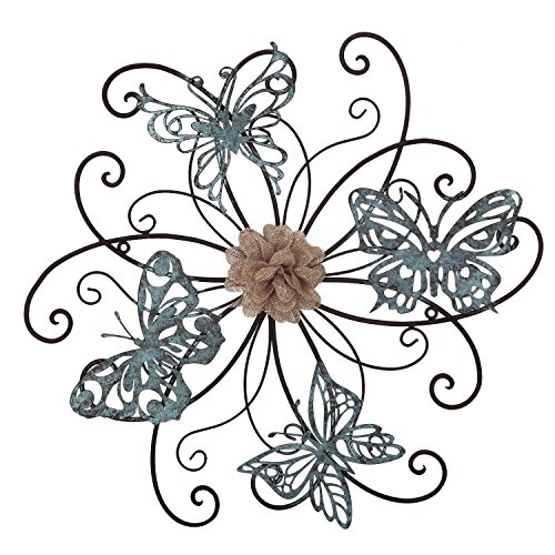 Adeco DN0015 Flower & Butterfly Urban Design Metal Wall Decor for Nature Home Art Decoration & Kitchen Gifts, Multicolor
