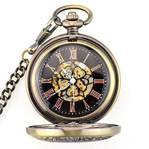 Reloj de Bolsillo con Estilo clásico.Reloj de Bolsillo - Patrón de Madera Digital mecánico Hueco abatible de Doble Escala Vintage con Cadena de Reloj para Hombres y Mujeres + Caja de Regalo (Color: