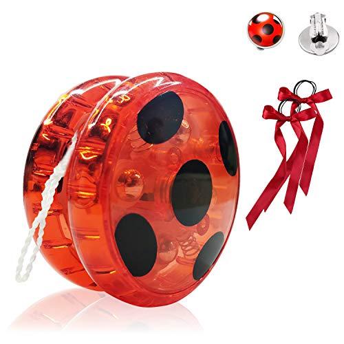 Hook Ladybug Yoyo para Disfraz Niña Lady Bug Cosplay Disfraces Fiesta de Carnaval Navidad Halloween, + 2X Pendientes con Clip +2 x Cintas para el Pelo. (Ross)