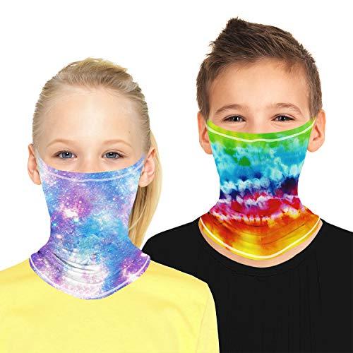 CicRuii 2 szt. bandana szalik na twarz apaszka na szyję bandany elastyczna chusta dla dzieci chłopców dziewcząt bieganie piesze wycieczki jazda na rowerze motocykl ochrona przed słońcem bezszwowa kominiarka #103-E