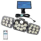 Lampade solari per esterni, 138 LED a energia solare con sensore di movimento, angolo di illuminazione a 360°, impermeabilità IP65, 3 modalità, lampada da parete solare con cavo da 5 m