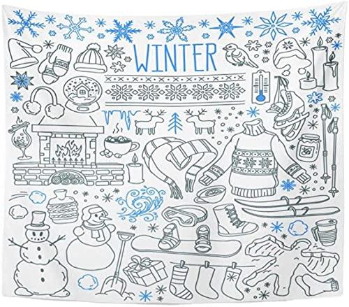 Tapices Tapices Tapicería invierno temporada doodle copos de nieve carámbanos clásicos ornamentos de punto desgaste deportes dibujos a mano alzas sobre la decoración del hogar 150x100cm / 59 * 39inche