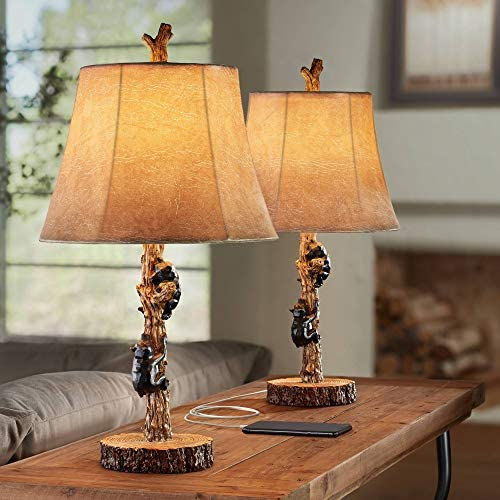 Climbing Bears Rustic Western Accent Table Lamps Set of 2 with USB Charging Port Black Gray product image
