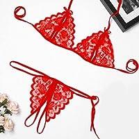 セクシーなランジェリーファッションセクシーな誘惑ピカルディスポルノの女性、エロティックなランジェリー透明なレースオープンセットブラとパンティー、セクシーな衣装(色:赤、タマニョ:a) (Color : Red, Size : A)