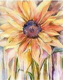 Gronda Pintura por números Adultos DIY Flores Pintura Girasoles Naranja Conjunto Amarillo para el hogar Casa de campo Cuadro de plantas Decoración colorida con accesorios Pintura Lienzo 40x50 cm