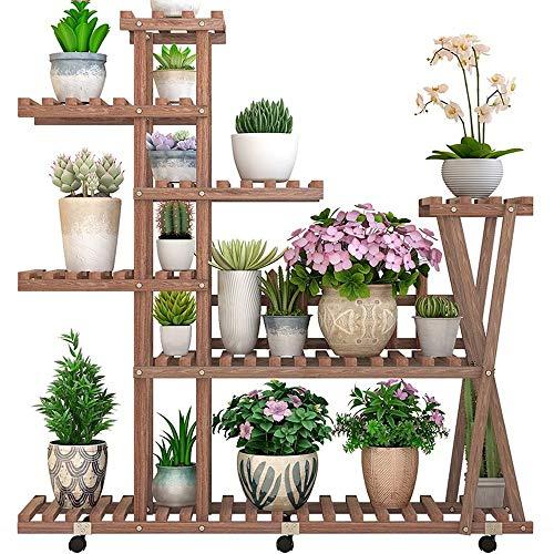Plant stand-BYTGK Plantenstandaard, multifunctioneel, natuurlijk houten bloempot, houder-tandstang met hekken en wielen, voor binnen en buiten, tuin, balkon H1016