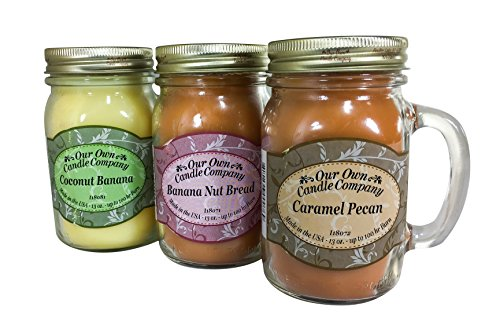 Our Own Candle Company Caramel Pecan, Banana Nut, and Coconut Banana - Nut Variety Pack Scented Mason Jar Candles, 13 oz (3 Pack)