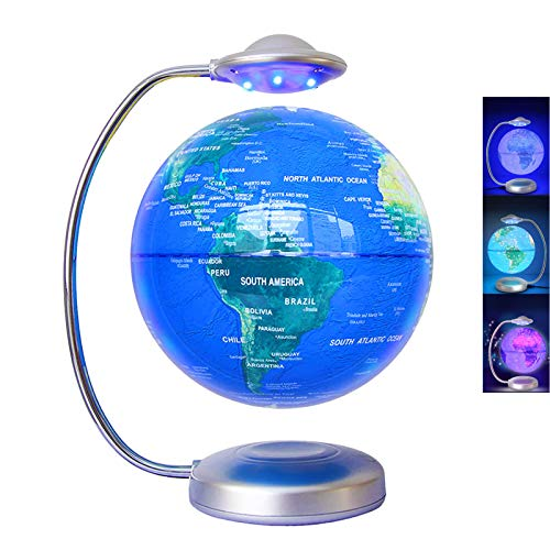 rnuie Floating Globe, 3D Rotation with Led Magnetic Levitation Globe, Floating World Map for Learning and Education, Home Desk Decoration, Creative Gift Decoration