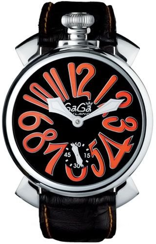 GaGa Milano Manuale 48MM - Reloj (Reloj de pulsera, Femenino, Acero inoxidable, Cuero, Negro, Mineral)