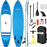 ANCHEER Inflatable Stand Up Paddle Board, 11'×32'×6' Double Layer Touring iSUP, 3 Fins, Max Load:350 lbs; Repair Kit & Backbag, EVA Deck, Adj Paddle, Waterproof Bag, Leash and Pump, All Skill Levels