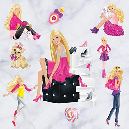 3D Cartoon Barbie Doll Princess Home Decoration Wall Stickers Girls Room Kindergarten Mural Wallpaper 60 * 45cm