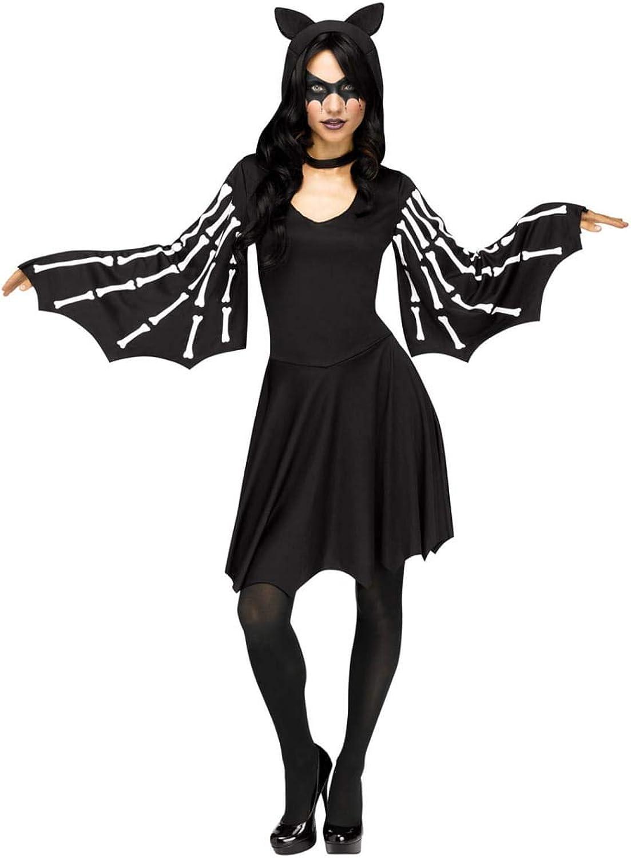 Horror-Shop Sexy Fledermaus Skelett Kostüm-Kapuzenkleid für Halloween ML B07FYN4WG2 Lebhaft    | Modisch