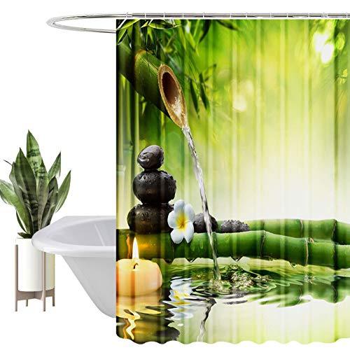 HEYOMART Duschvorhang, Wasserabweisend, Waschbar Digitaldruck Stoff Polyester Badewanne Vorhang, für Duschkabine, Badewannen, Badezimmer-Vorhänge mit 12 Duschvorhängeringen (180x200cm, Bambus)