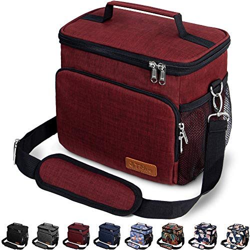 Insulated Lunch Bag for Women/Men - Reusable Lunch Box for Office Work School Picnic Beach - Leakproof Cooler Tote Bag Freezable Lunch Bag with Adjustable Shoulder Strap for Kids/Adult - Burgundy Red