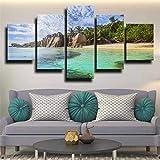 QWASD Impresión En Lienzo - 5 Piezas - Cuadro sobre Lienzo - Palmas De Playa Tropical Cuadro De Pintura Póster De Arte Moderno Oficina Sala De Estar O Dormitorio Decoración del