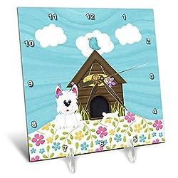 3dRose Beverly Turner Birthday Design - Cute Dog with Bone Next to Doghouse, Bird on Roof, Flowers, Birthday - 6x6 Desk Clock (dc_308979_1)