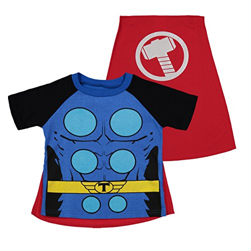 Marvel Avengers Thor Toddler Boys' Costume Shirt with Cape, Blue (3T)