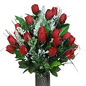 Stay-In-The-Vase Artificial Cemetery Flowers for Outdoor-Grave-Decorations – Red-Rose Bud Bouquet Lush Fake Flowers, Non-Bleed Colors Design