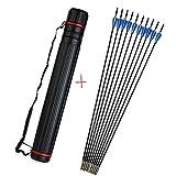 ZSHJG 12 pcs Tiro al Arco Flechas de Fibra de Vidrio 31'Flechas de Práctica de Tiro para Compuesto Recorvar Arco con Carcaj de Flecha (Azul)