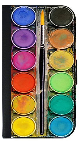 Watercolor Paint Pallete with a Paintbrush Print - TM Wallet Style Phone Case - Apple iPhone 4/4s/5/5s/5c/6/6s/6+/6s+/7/7+/8/8+ Select Your Compatible Phone Model