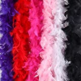 Outuxed 6pcs 6.6ft Colorful Feather Boas for Women Girls Dress Up Costume Halloween Party Bulk Decoration