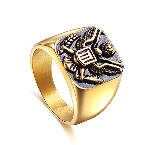 jajafook US ejército Militar insignia Eagle acero inoxidable hombres anillo de, oro, tamaño 8–14