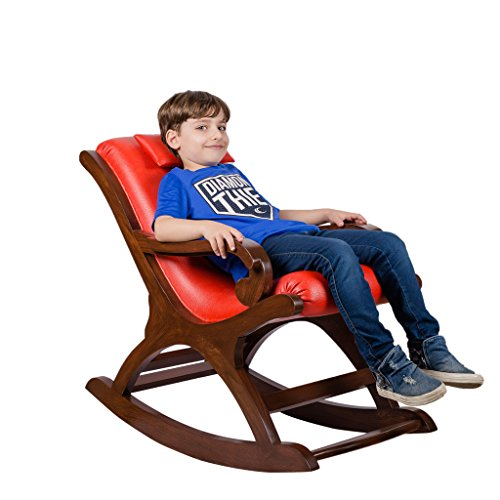 Cushioned Back and Seat Kids Teak Wood Rocking Chair