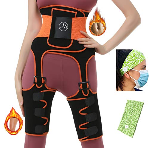 DEVP 3 in 1 Waist Thigh Trimmer and Butt Lifter,Best Neoprene Thigh and Waist Trainer, Thigh Eraser, Body Shaper Thigh Trimmer for Women Weight Loss, Adjustable Slimming Support Belt Hip Enhancer