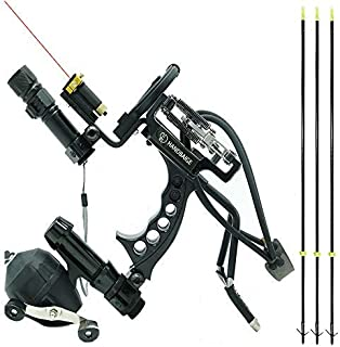 Image of HBG HANDBAIGE Archery Hunting Fishing Arrows Slingshot Kit Outdoor Powerful Folding Professional Adjustable Shooting Slingshot Bow with 3Pcs Fiberglass Fishing Arrows Rubber Bands