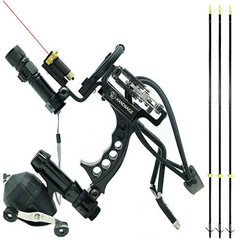 HBG HANDBAIGE Archery Hunting Fishing Arrows Slingshot Kit Outdoor Powerful Folding Professional Adjustable Shooting Slingshot Bow with 3Pcs Fiberglass Fishing Arrows Rubber Bands