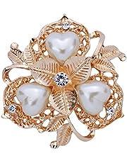 YAZILIND Hoja de la Flor Blanca Diamante cristalino del corazón de la Perla de Faux de la Broche de la Tarde