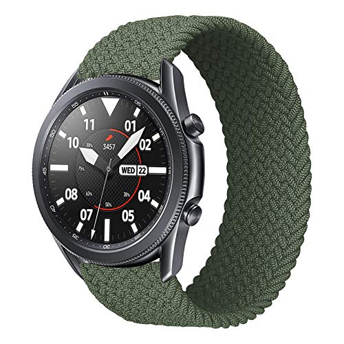 iBazal 22mm Correa Galaxy Watch 46mm Pulsera Nylon Banda Trenzada Lazo Individual Repuesto para Samsung Galaxy Watch 3 45mm/Gear S3 Frontier Classic, Huawei Watch GT/GT 2 46mm - M Verdes
