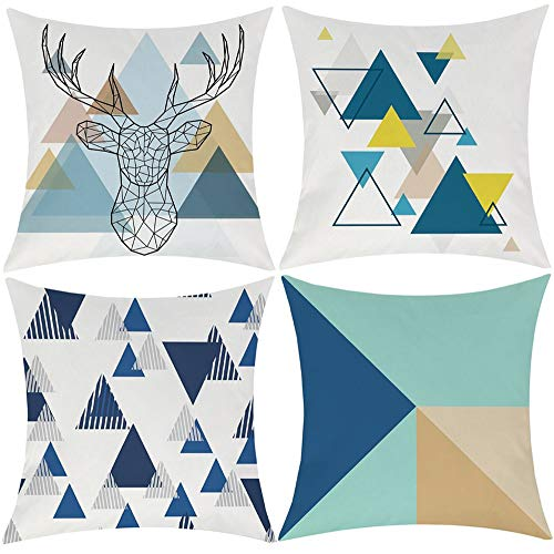 EZVING Blue Geometric Throw Pillow Covers, Decorative Cushion Covers Pillowcase Cushion Case for Sofa Bed 18 x 18 Inch Set of 4
