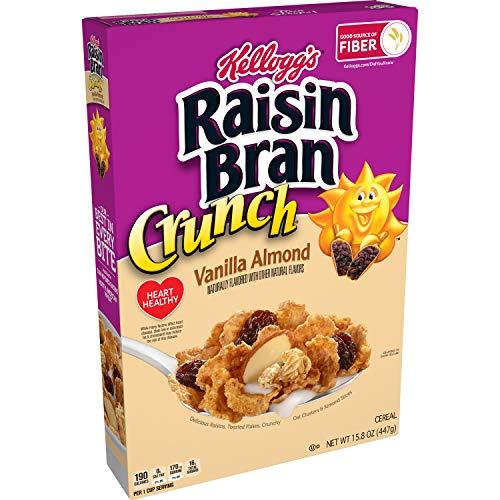 Kellogg's Raisin Bran Crunch Breakfast Cereal, Fiber Cereal, Made with Real Fruit, Vanilla Almond, 15.8oz Box (1 Box)