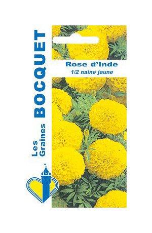 Les Graines Bocquet - Graines De Rose D'Inde Demi Naine Jaune - Graines Potagères À Semer - Sachet De 1.5Grammes