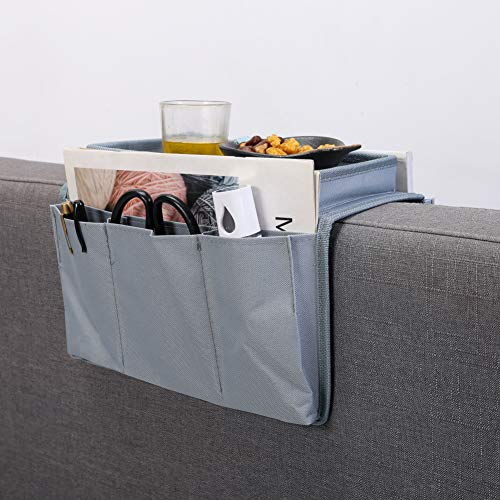 Armchair Caddy - Sofa Armrest Organizer with Tray and 4 Pockets - Remote Control Holder Table Cabinet Space Saver Storage Bag for Phone Book Magazines (Grey)