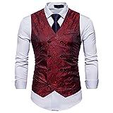 Showu Paisley Gilet Homme Sans Manches Slim Fit Ancien Rétro Double Boutonnage Costume Blazers (Rouge, S)