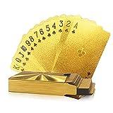 e claro, Tarjetas Tarjetas Tarjetas, Tarjetas Impermeables Jugando, Tarjetas Impermeables Brillante En La Oscuridad, 24k Oro Tarjetas de juego Poker Game Deck Gold Foil Poker Set Plastic Magic Card Ta