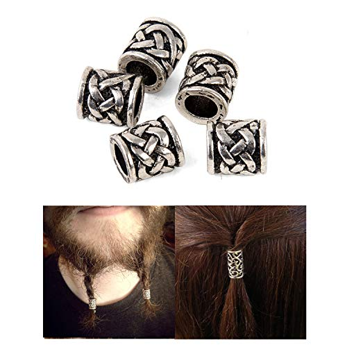 Norse Vikings Hair Bead Beard Bead Antique Silver Crossed Knots Beads Findings for Necklace Bracelet Jewelry DIY Charms About 6 mm Inner Diameter C95 (C95)