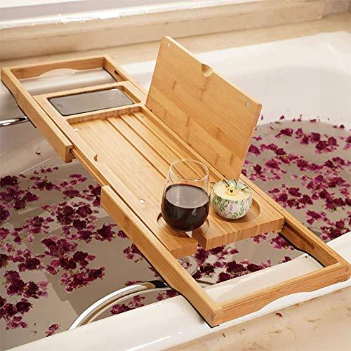 Utoplike Bamboo Bathtub Caddy Tray Bath Tray for Tub, Adjustable Bathroom Bathtub Organizer with Book Tablet Wine Glass Cup Towel Holder,Distinctive Gift (24.8