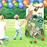 Dinosaur Toss Games Banner, Realistic Dino Party Cornhole Game with 5 Bean Bags for Kids Boys Birthday Jurassic World Family Gathering Party Supplies