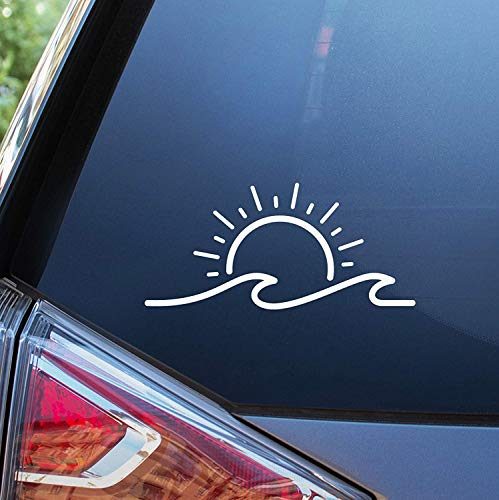 Sunset Graphics & Decals Sun and Wave Decal Vinyl Car Sticker | Cars Trucks Vans Walls Laptop | White | 7 inches | SGD000194