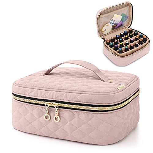 Yarwo Ätherisches Öl Aufbewahrungsbox, Ätherische Öle Reisetasche für 24 Flaschen Öle (5-30ml), Duftöle Tragetasche für Essentiale Öle und Zubehör, Rosa