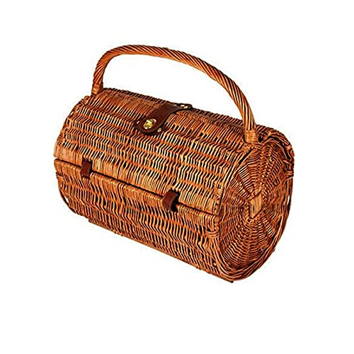 jinrun Cesta de Picnic de ratán Cesta de Primavera con vajilla Almacenamiento Cesta Tejido Picnic Basket Fruit Basking Camping Caja de Almacenamiento